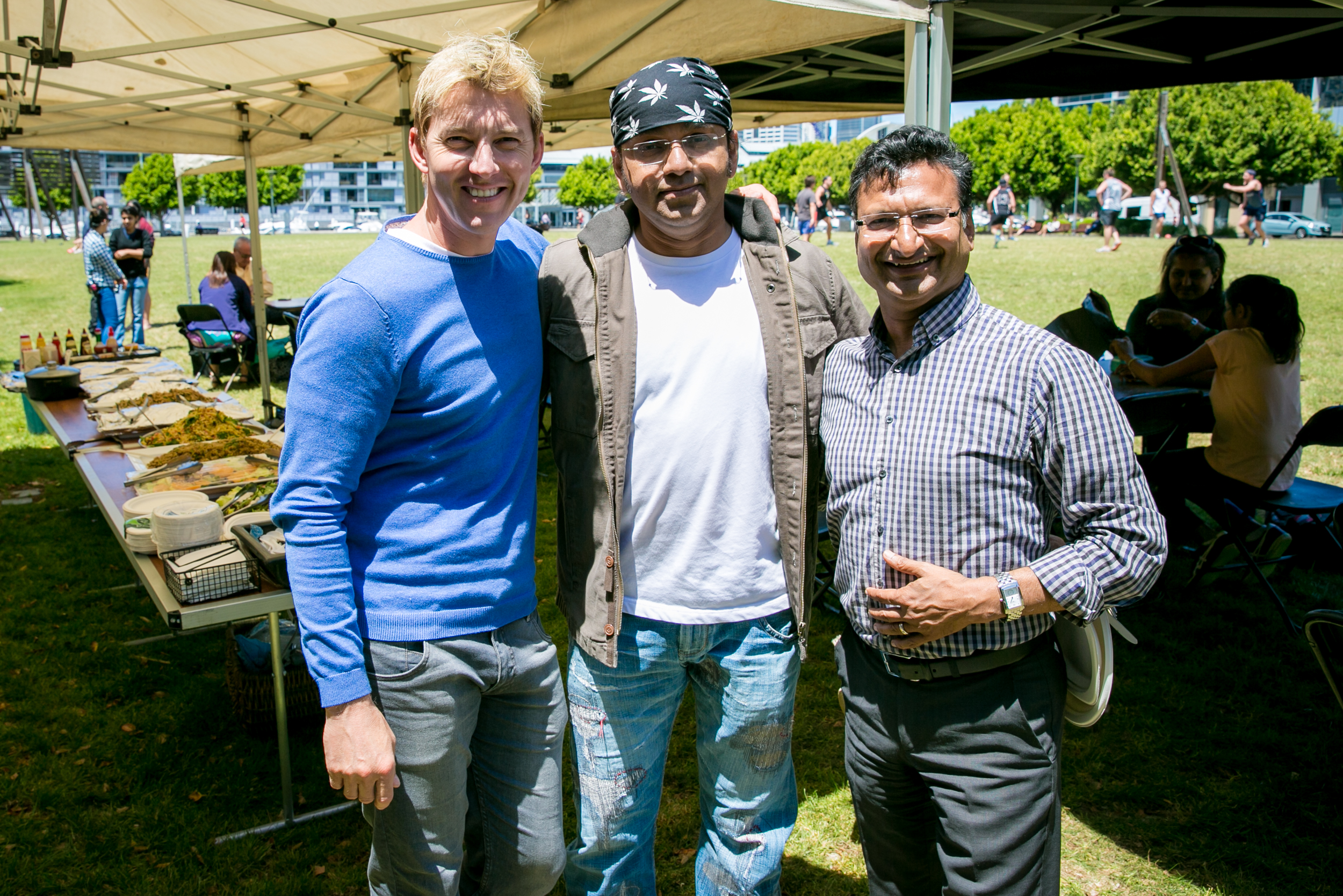 Anu with Brett Lee and founder of the Australian India Film Fund Devendra Gupta.  Photo by Kate Ryan.