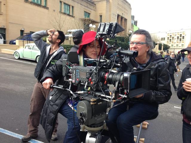 Julietta and Geoff Bennett on the set of  Love Child . Photo credit:Sarah Hadley
