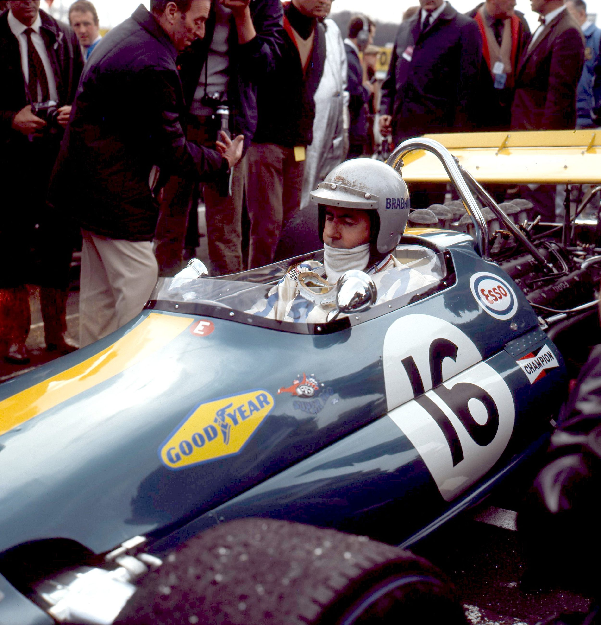 Jack Brabham in a later Brabham-Ford Cosworth