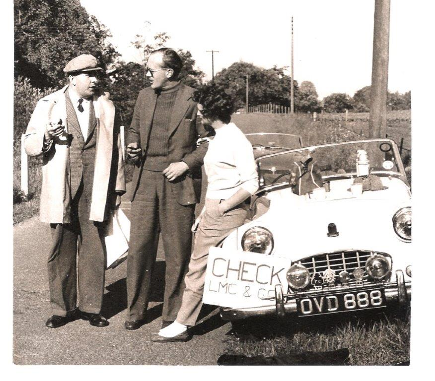 Anne and Ian Brown at a control on a Lanarkshirte Car Club event with Gilbert Harper (left)