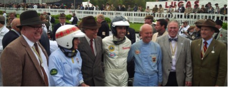Goodwood Revival 2013, Jim Clark 50 Year celebration of 1963 World Championship.  Left to right: Christian Overland, Executive Vice President, The Henry Ford Museum Sir Jackie Stewart, Honorary President The Jim Clark Trust Charles Gordon-Lennox, Earl of March and Kinrara DL (Lord March) Patron The Jim Clark Trust Dario Franchitti, Patron The Jim Clark Trust Doug Niven, The Jim Clark Trust, Family Trustee & cousin of Jim Clark Ian Calder, The Jim Clark Trust, Family Trustee & nephew of Jim Clark Clive Chapman, Patron The Jim Clark Trust, Classic Team Lotus, son of Colin Chapman