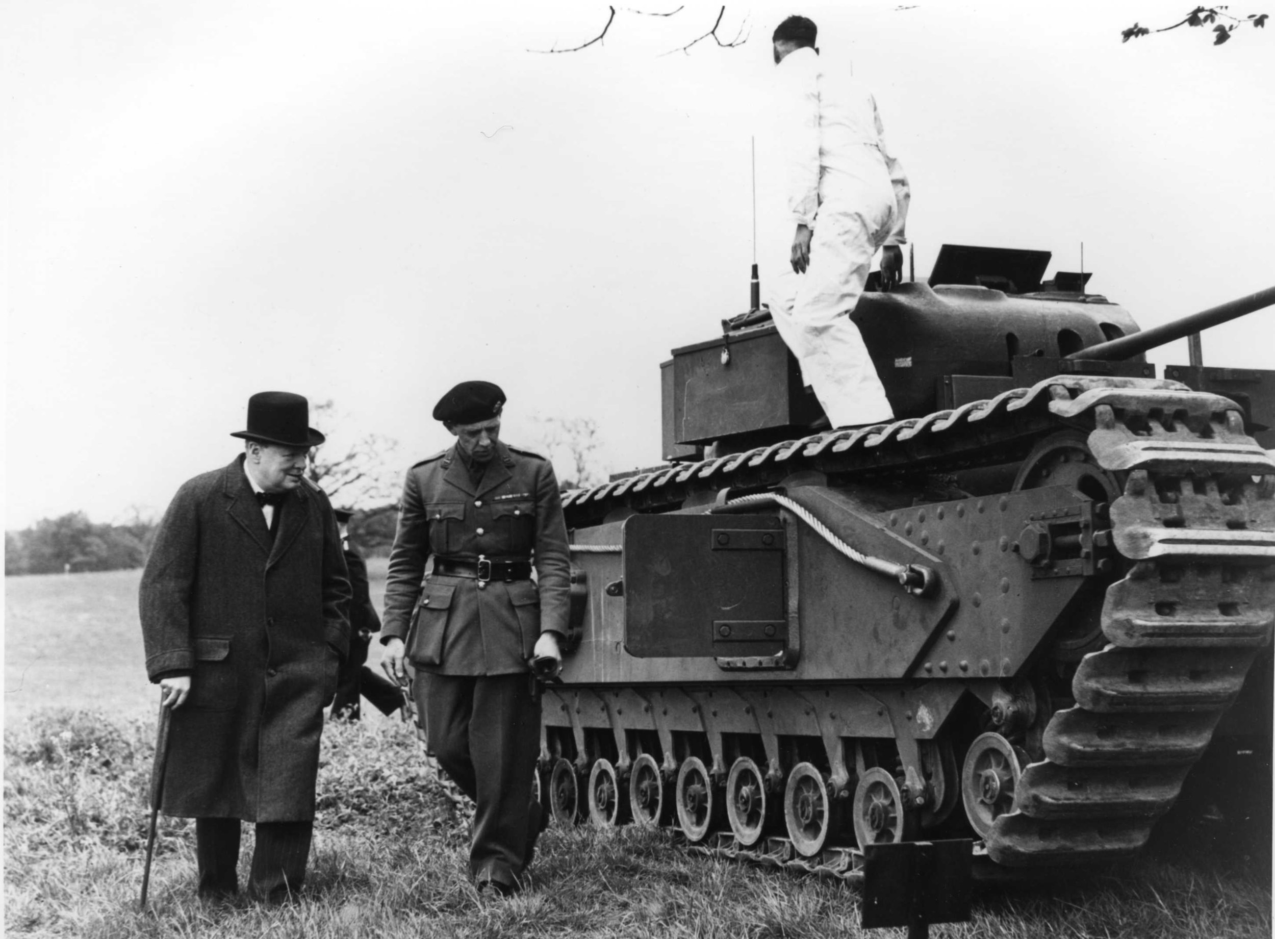 Prime Minister Winston Churchill inspecting Churchill tank made by Vauxhall in 1940. Named coined from Churchill's ancester John Churchill, Duke of Marlborough.