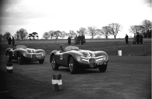 """Ecurie Ecosse used """"sergeant"""", """"corporal"""" and """"lance-corporal"""" chevrons to distinguish cars for the team manager in races. Testing here, probably at Winfield in a WK Henderson picture, KSF 181 was usually driven by Jimmy Stewart, elder brother of Sir Jackie and JWS 353 by the wonderfully talented Ian Stewart."""