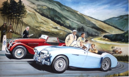 """Talented artist and for many year Austosport's photographer for Scotland the late Bill Henderson painted this for Jim Clark: Tribute to a Champion. It shows Potts' Austin Healey No 111 with 19-year-old Clark in the passenger seat at the """"Little"""" Rest-and-be-Thankful control on the Scottish Rally. Also waiting under the eye of AK Stevenson OBE, secretary of the Royal Scottish Automobile Club is the crew of Morgan Plus 4 Frank Dundas (in cap) and co-driver Eric Dymock."""