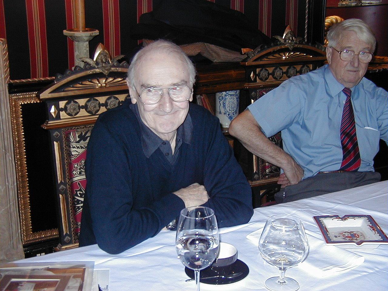 Prestonfield House, Edinburgh.Ian Stewart the late Bill Dobson, his fellow Ecurie Ecosse driver, on right.