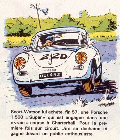 Dessin de Boivent Duffar from Champion magazine 1965. Jim Clark's career with French captions.