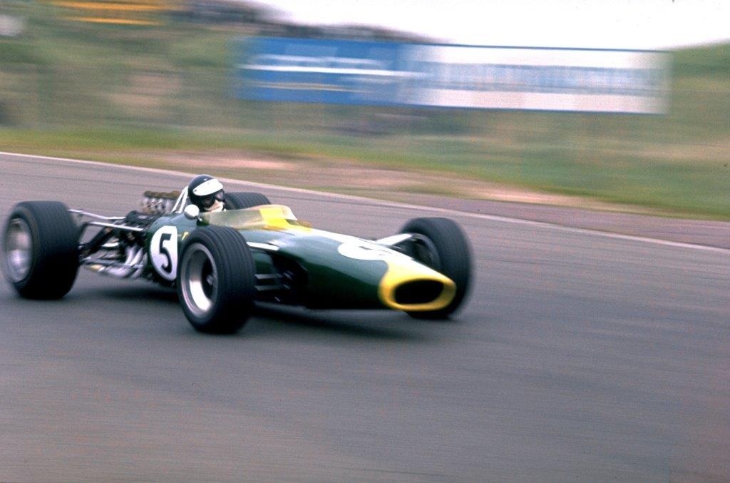 Jim Clark wins first time out with Lotus 49.