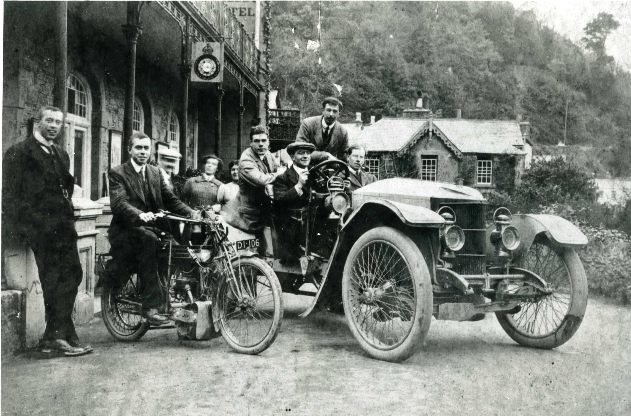 Designer Laurence Henry Pomeroy (1883-1941) drives a prototype Prince Henry.at the hotel in Lynmouth where he worked on engines for Vauxhall's 1914 racing cars.