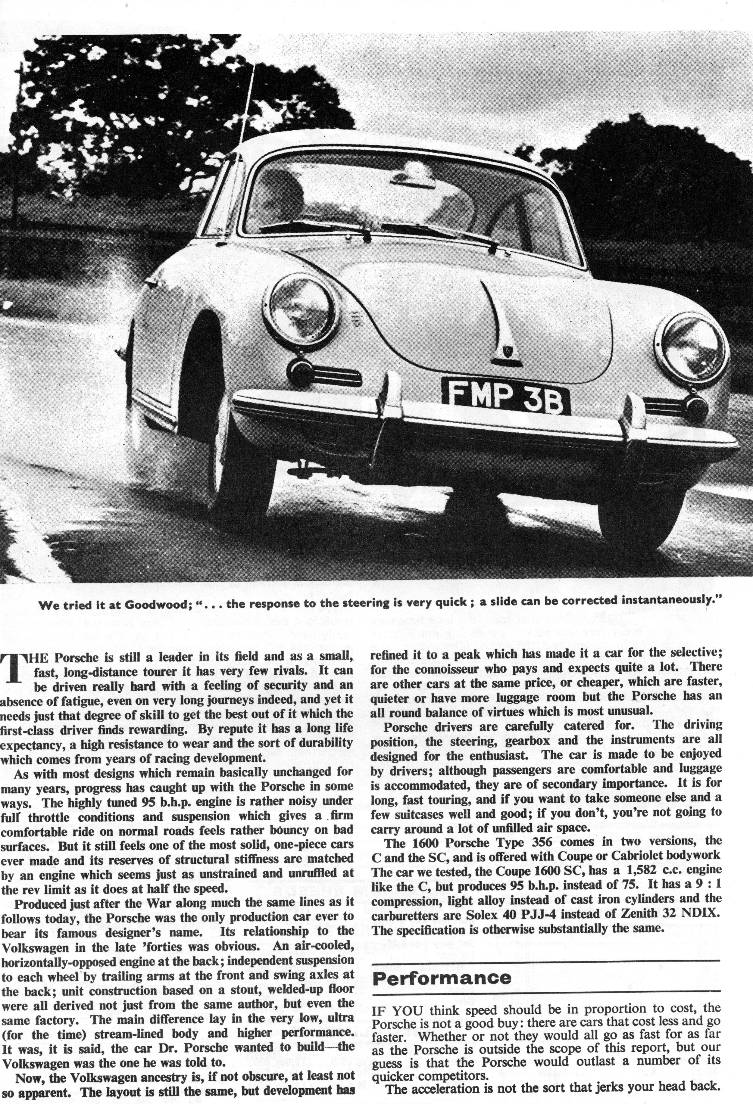 The author road tests a Porsche 1600SC for The Motor in 1964.