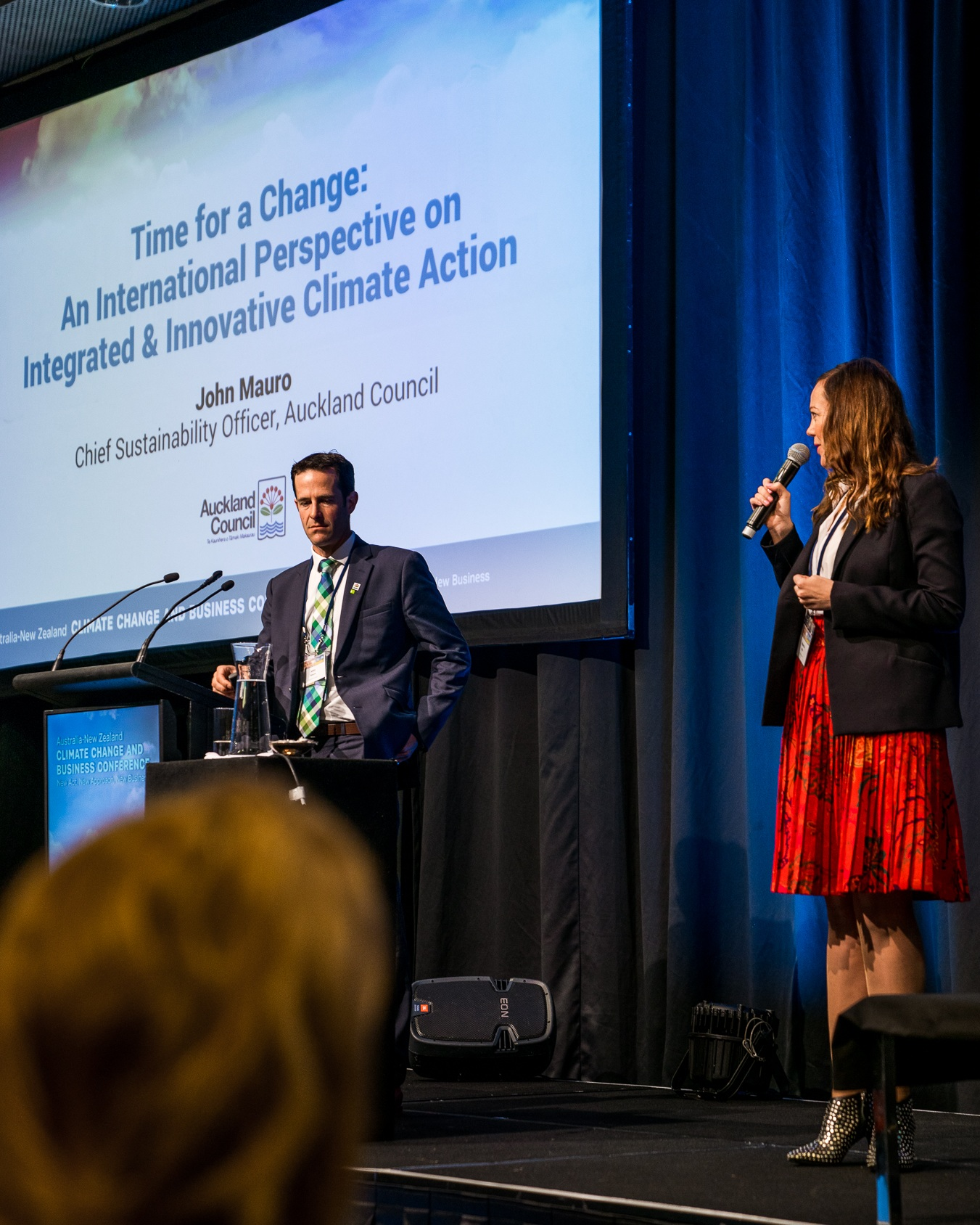 The Lever Room's founder Rebecca Mills chairing a session at the Autralia-New Zealand Climate Change and Business Conference.