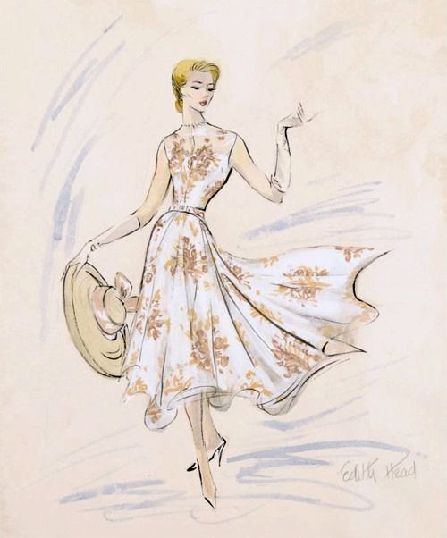"A sketch by Edith Head of her dress design for Grace Kelly's character in ""Rear Window""."