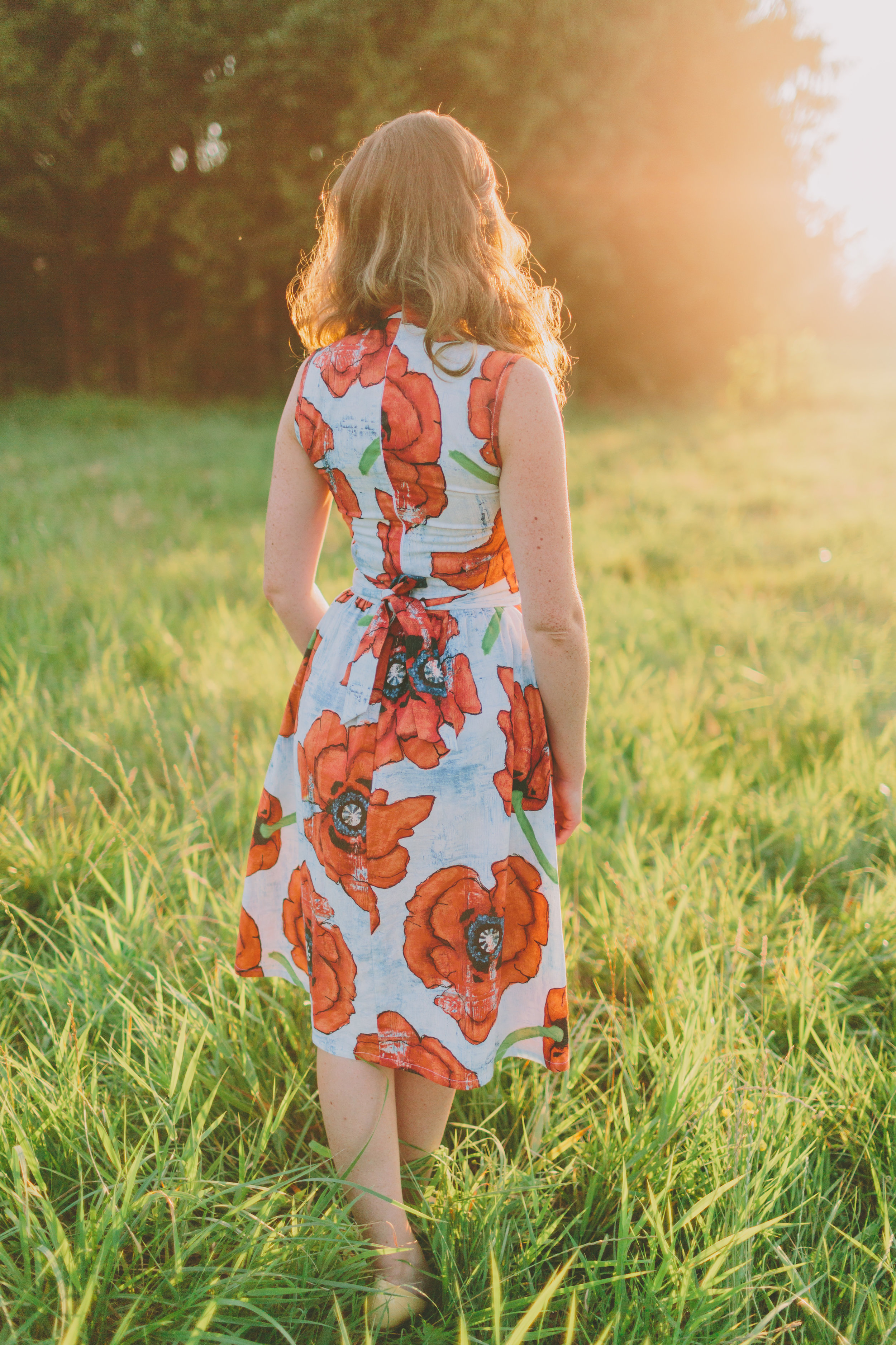 The Wanderer cheongsam style dress with full skirt in poppy, by Happy Yellow Dress