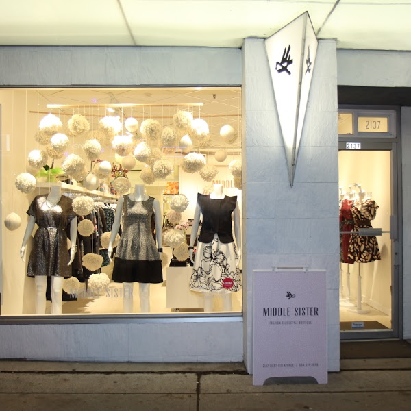A glimpse at the storefront of Middle Sister Boutique!