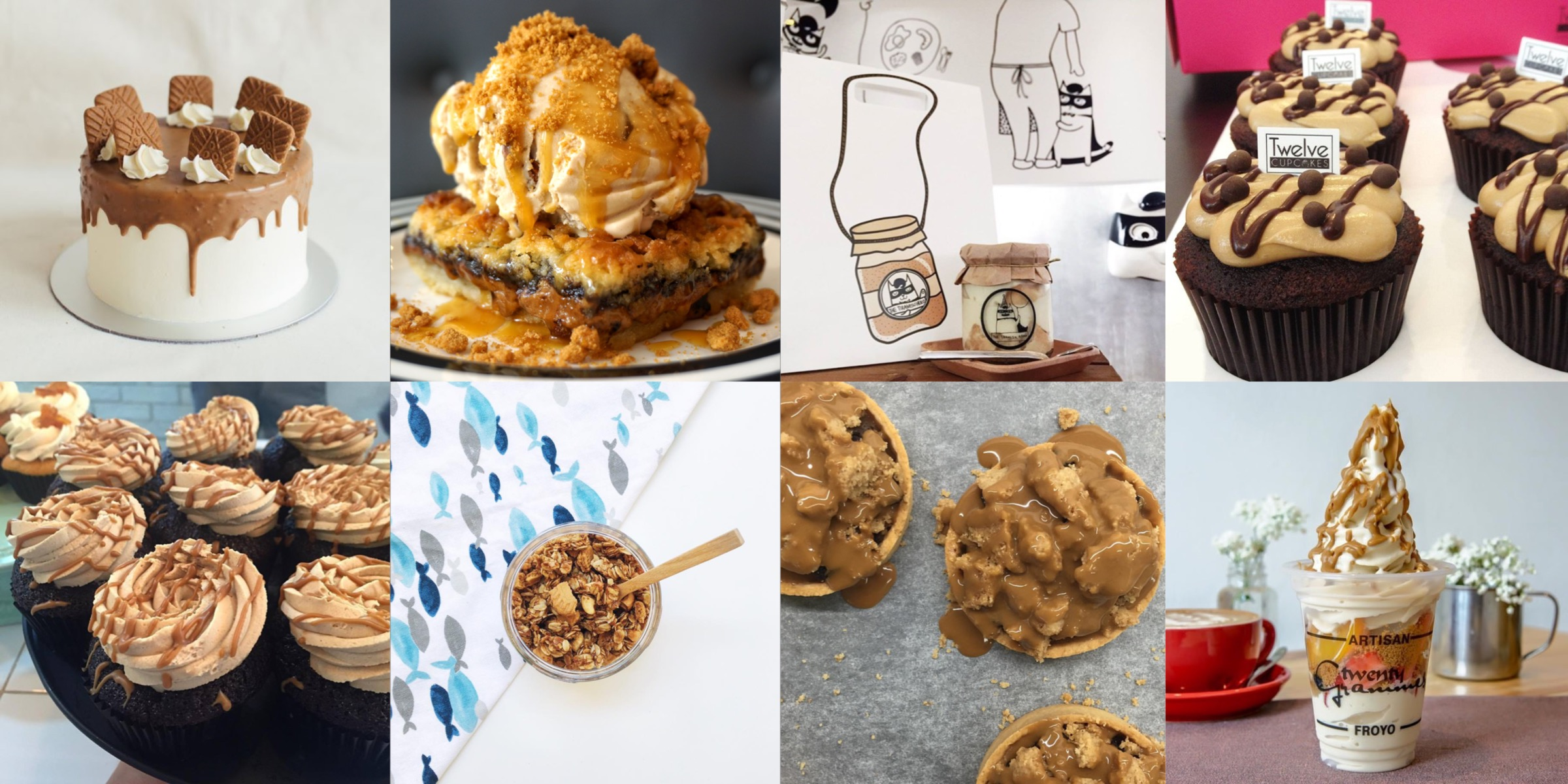 Clockwise from left to right, top to bottom: Edith Patisserie, Cake Spade, The Tiramisu Hero, Twelve Cupcakes, Twenty Grammes, Bloomsbury Bakers, Better Butter, Fluff Bakery. Photo credits to the respective establishments.