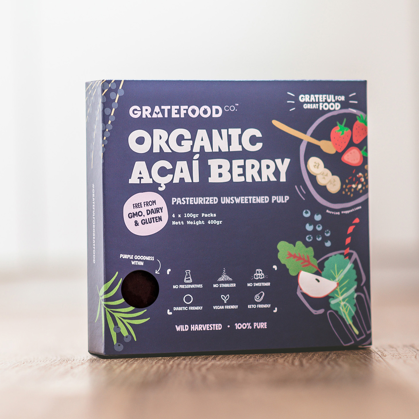 Our organic pasteurised frozen Açaí, packed in environmentally-friendly Kraft paper packaging