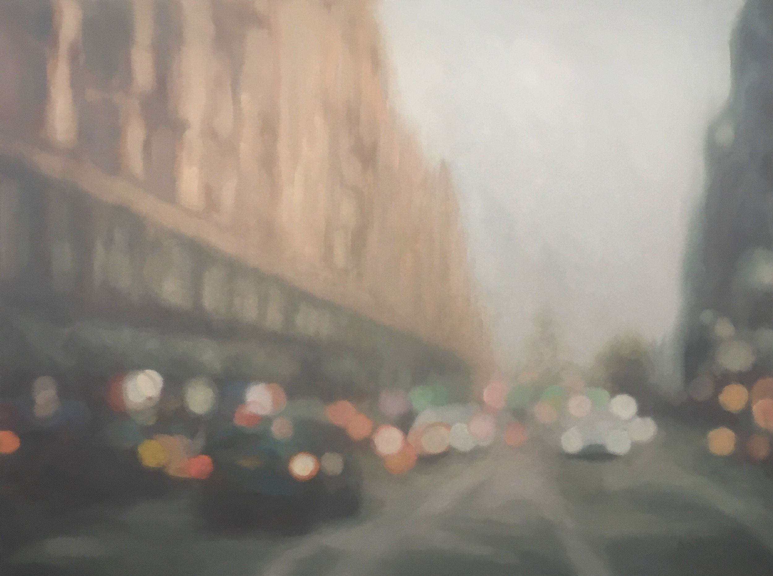 "This body of work is an exploration of the sfumato technique and tonalism. Sfumato is defined as ""the technique of allowing tones and colors to shade gradually into one another, producing softened outlines or hazy forms."" This gradual shift in form and color, as well as spatial ambiguity,  is further realized in the work here through using a chromatic color scheme. The result is that of the work shifting, eliding, dematerializing, and transforming before the eye and never finding complete resolution.    OIL ON PANEL 40x30  2018"