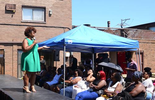 Speaking at grand opening…