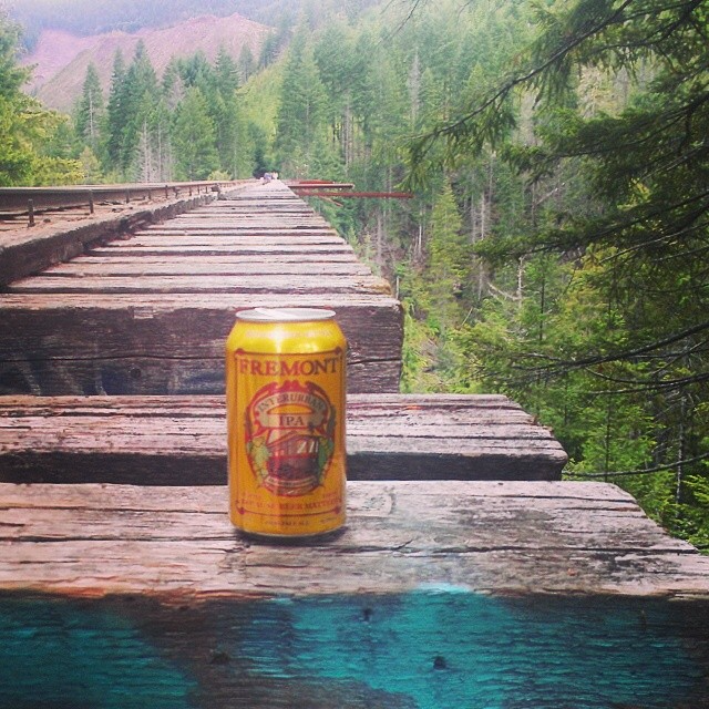 Interurban IPA on a railroad bridge