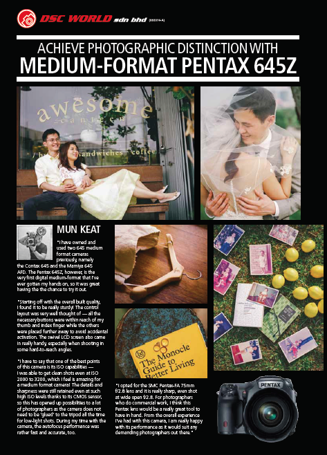 Pentax 645z review on Digital Camera Magazine in May 2015