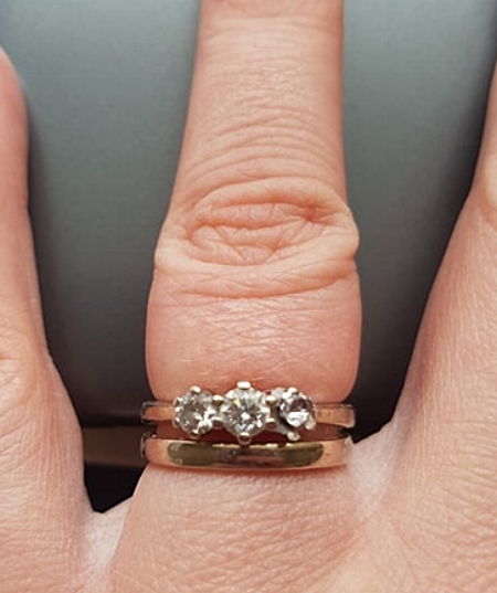 Excuse the chunky fingers. I have obviously eaten ten years worth of Big Macs since this ring was put on my finger