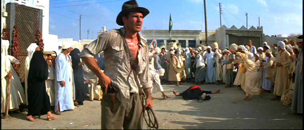 Indiana Jones (Harrison Ford) trumps the skilled Arabian swordsman (Terry Richards)