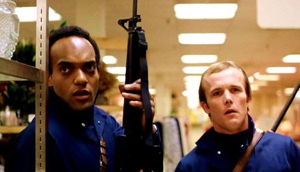 Ken Foree as Peter as Scott H. Reiniger as Roger stake a claim for life and commerce in George Romero's classic.
