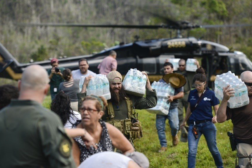 U.S. Customs & Border Protection & FEMA personnel deliver food and water to isolated Puerto Rico