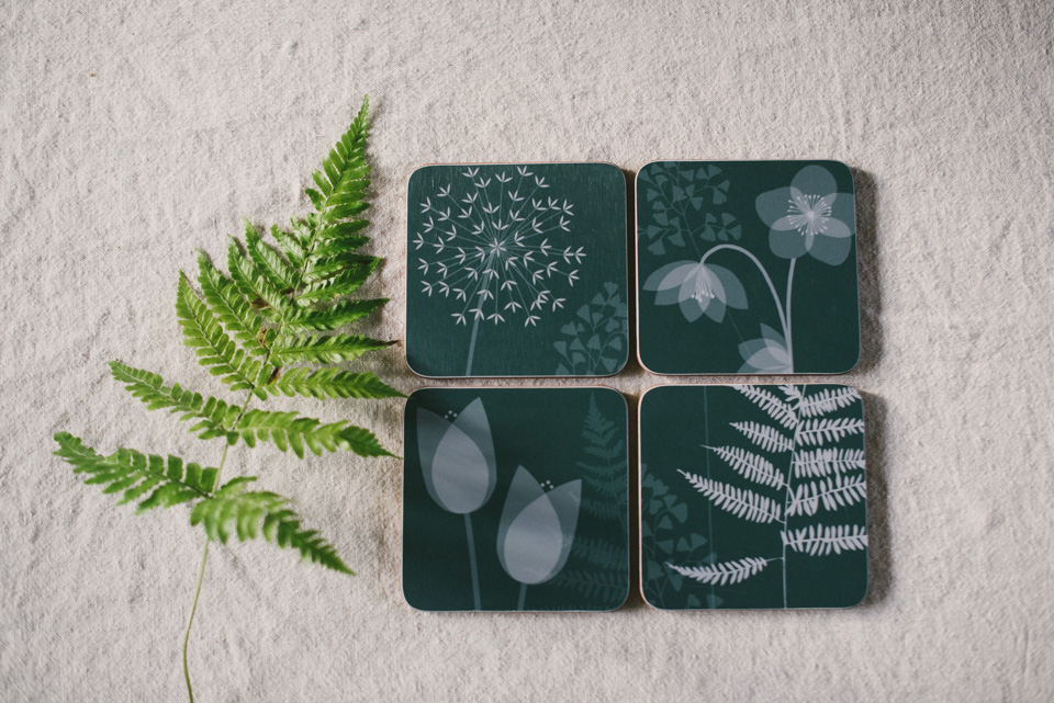 CHARLOTTE'S GARDEN, BY HANNAH NUNN: SET OF COASTERS