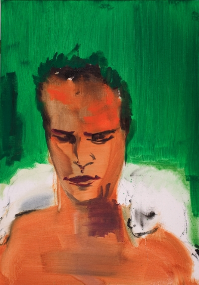 Rainer Fetting  Marlon Brando mit Katze , 2001 Oil on canvas, 100 x 70 cm Courtesy the artist