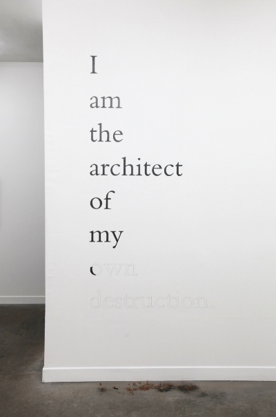 Douglas Gordon  I am the architect of my own destruction , 2010 Vinyl, pencil Dimension variable Courtesy the artist and Yvon Lambert