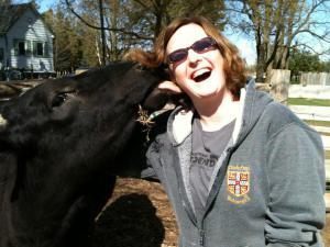 Keri with Chickpea at Cedar Row Farm Sanctuary Photo credit: Laurie Morrison