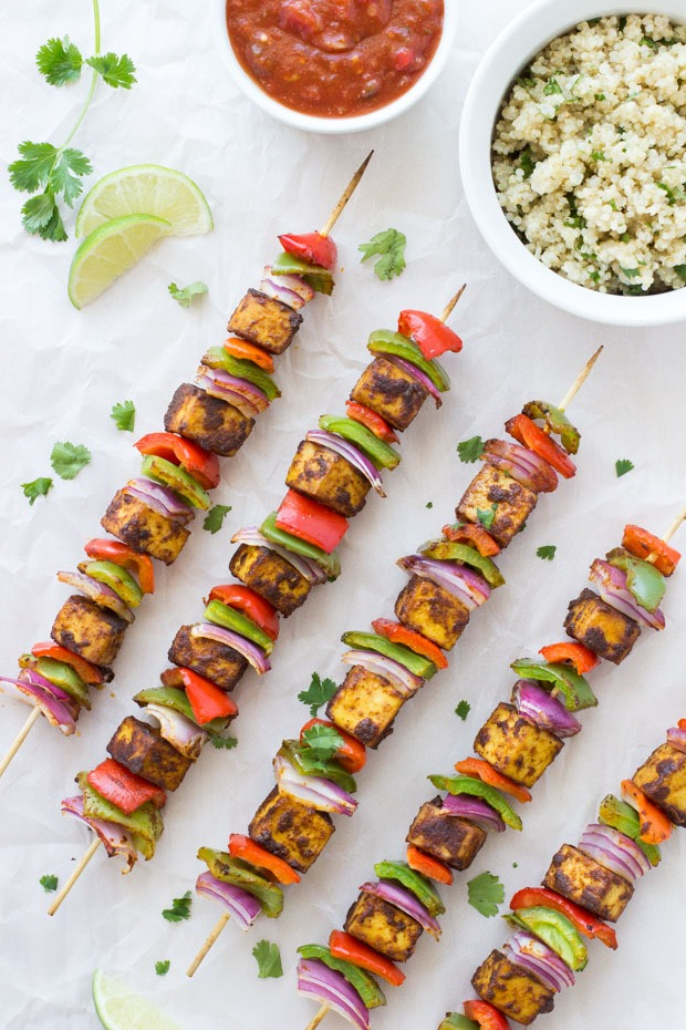 Fajita Tofu Kebabs with Cilantro Lime Quinoa  via Making Thyme For Health.   Click image for recipe.