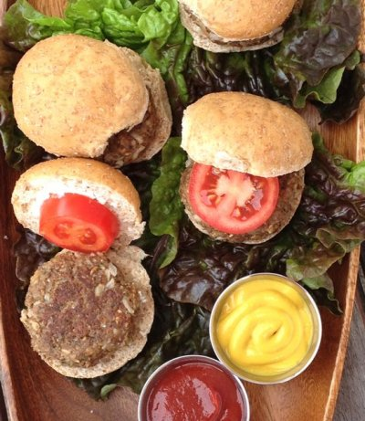 Mushroom Pecan Burgers, Take II  via Dreena Burton's Plant-Powered Kitchen.   Click image for recipe.