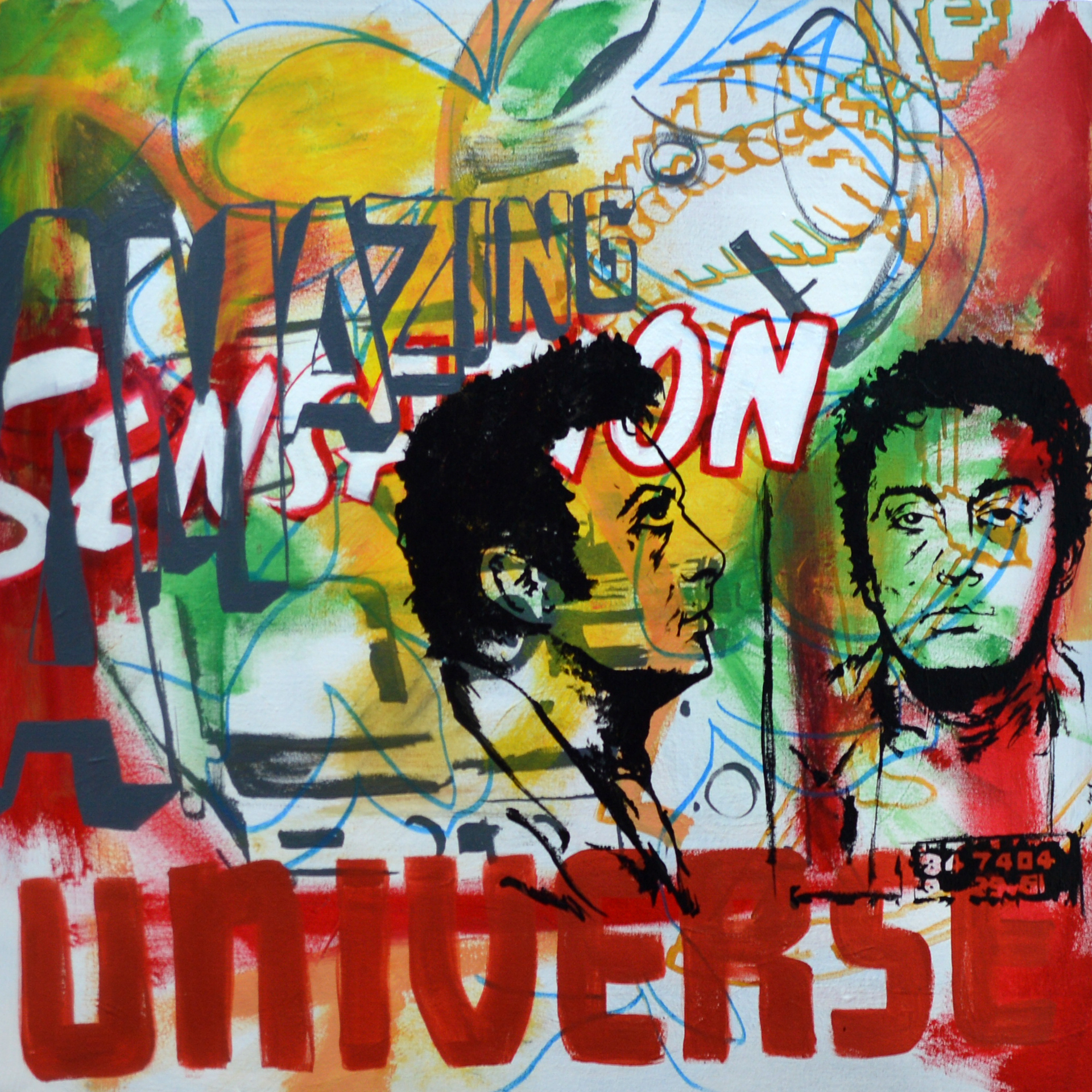 "Amazing Sensation Universe , acrylic on canvas,32""x32"" , 2012"