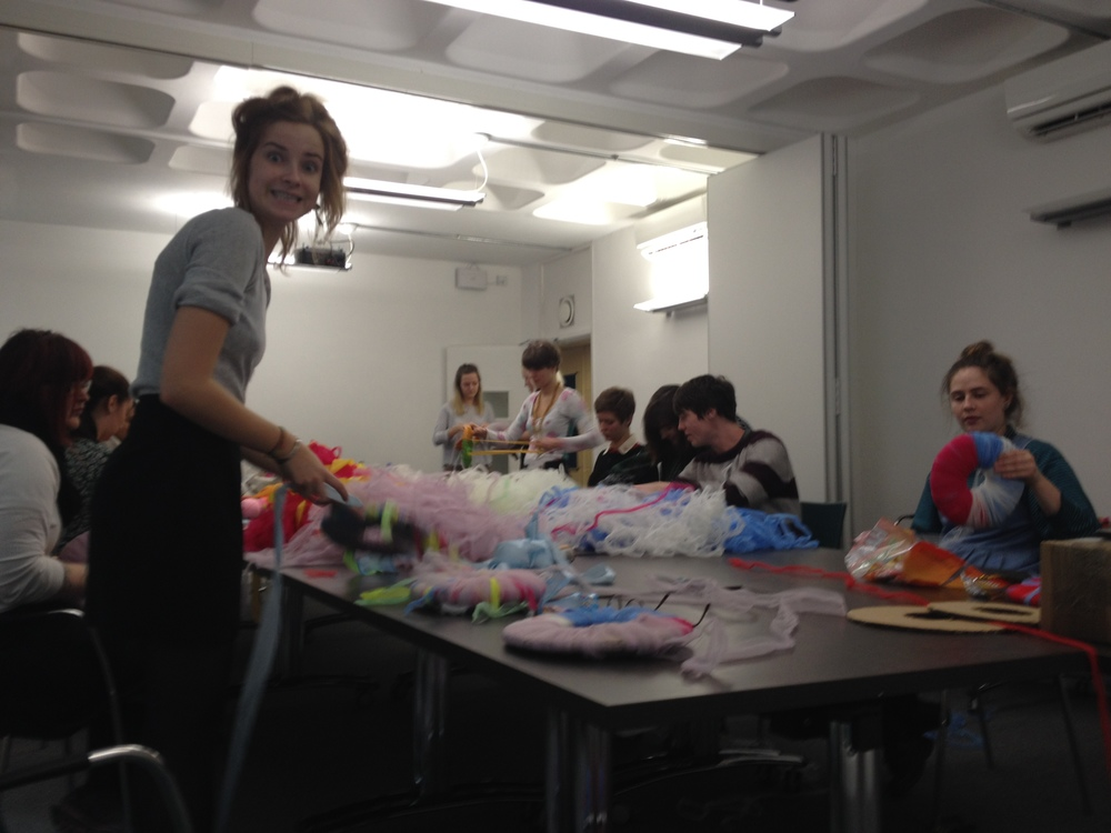 Making Pom Poms in the workshop