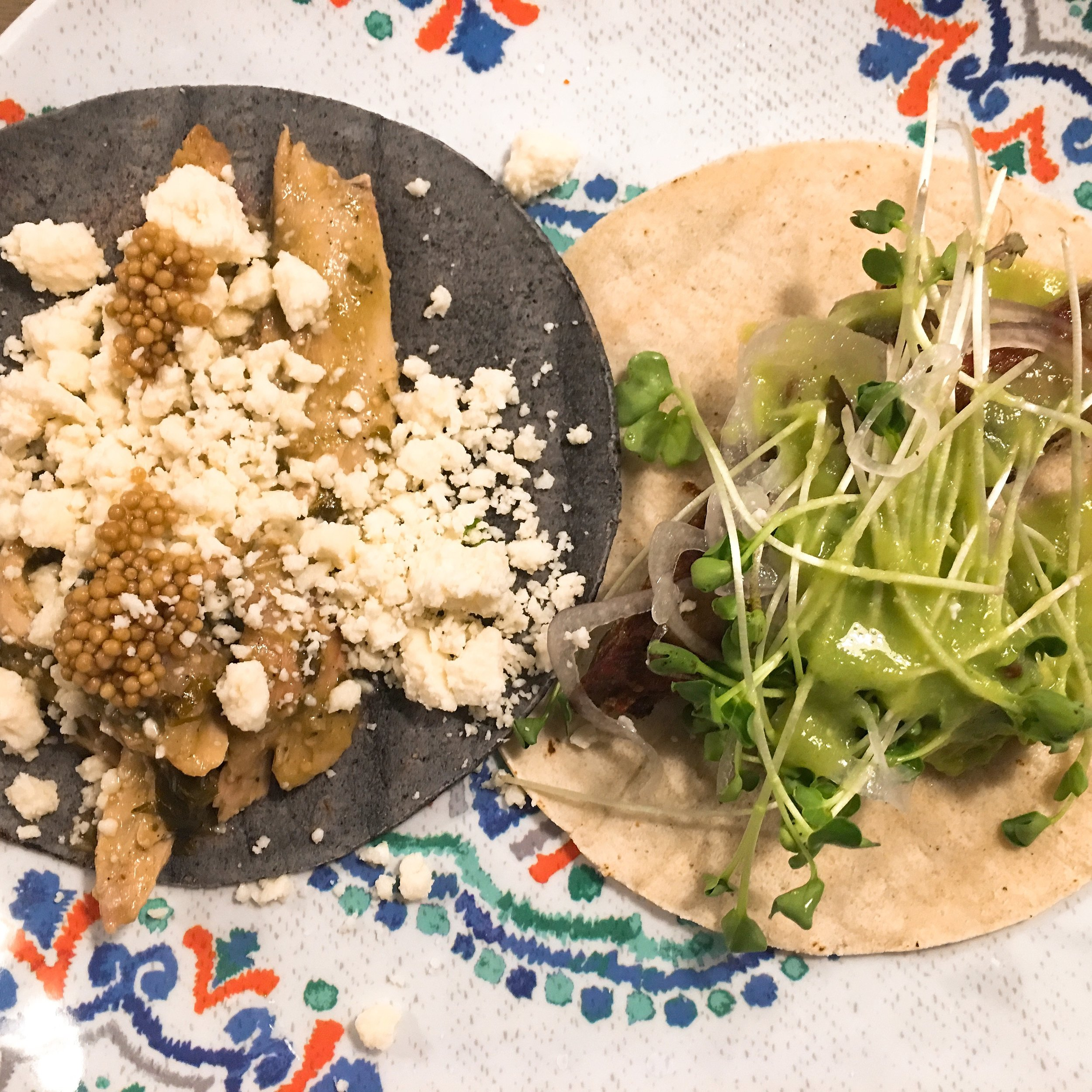 Paco's serves up elevated tacos, including its roasted chicken and carnitas, shown here.