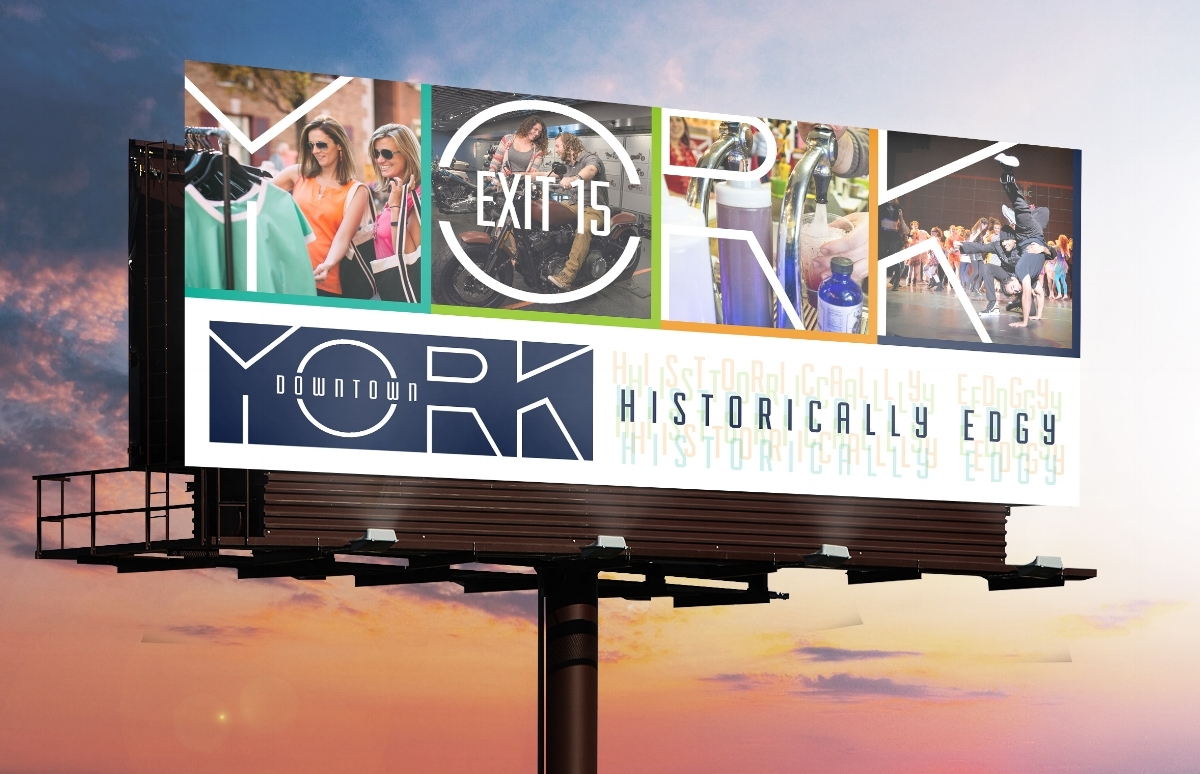 This billboard concept could be deployed on busy interstates to attract visitors to Downtown York.