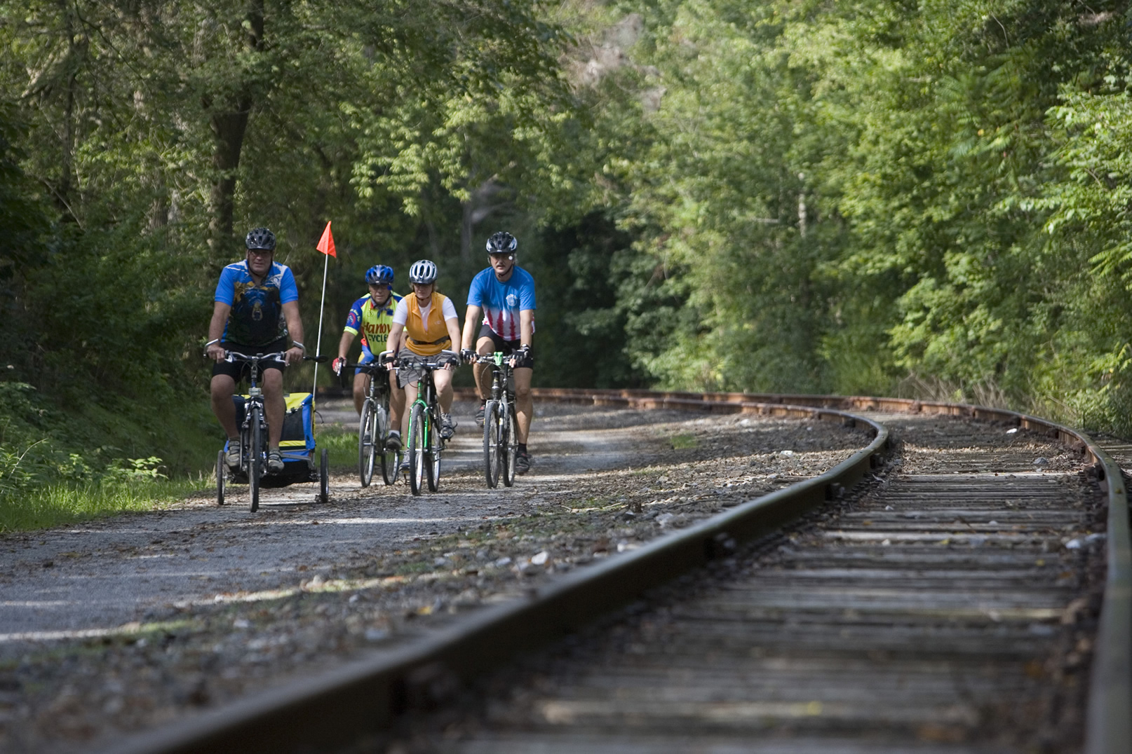 Cyclists enjoy a ride along the York County Heritage Rail Trail. Photo courtesy of the York County Convention & Visitors Bureau.