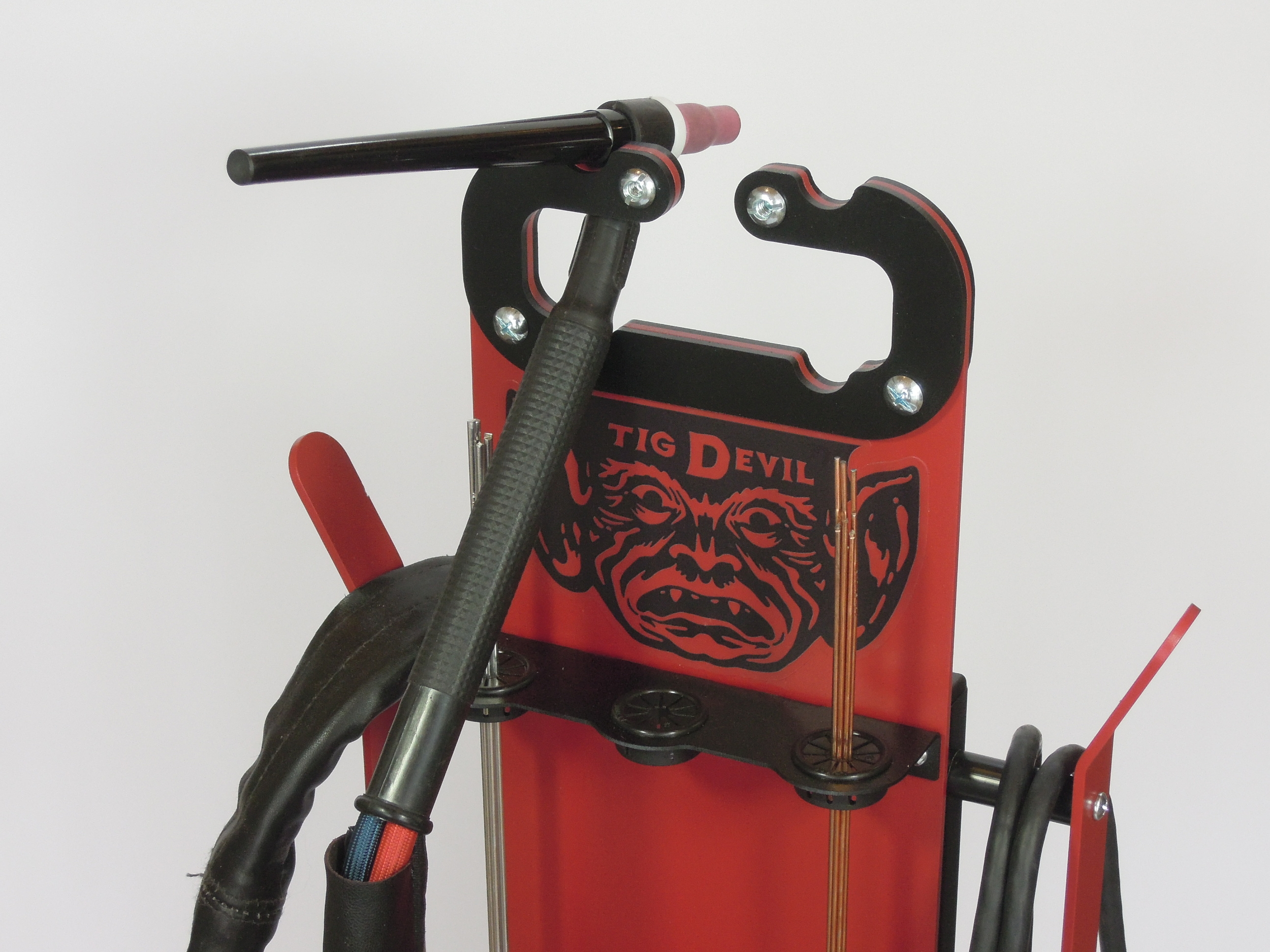 The TIG Devil is a TIG foot pedal caddy and organizer made in Minnesota