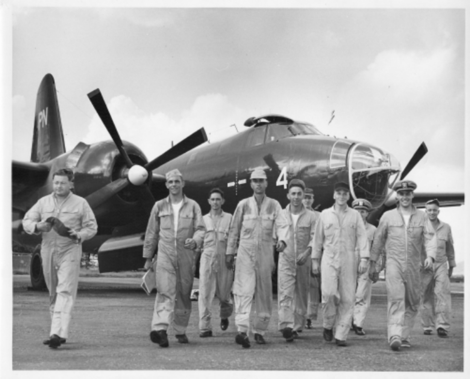 Lt. J.G. Edward H. Bergeron (second from right, US Navy Hurricane Squadron, 1954
