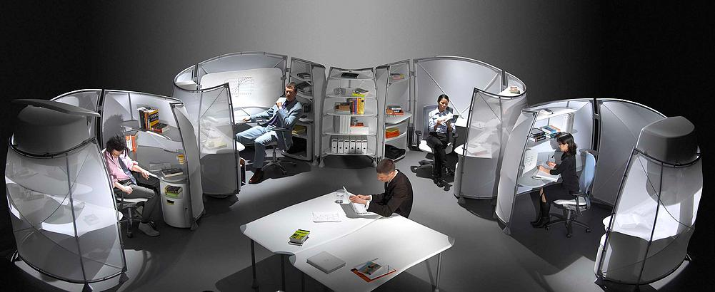 Knoll's 21st century take on the office cubicle. Image credit: Asymptote Architecture, www.asymptote.net