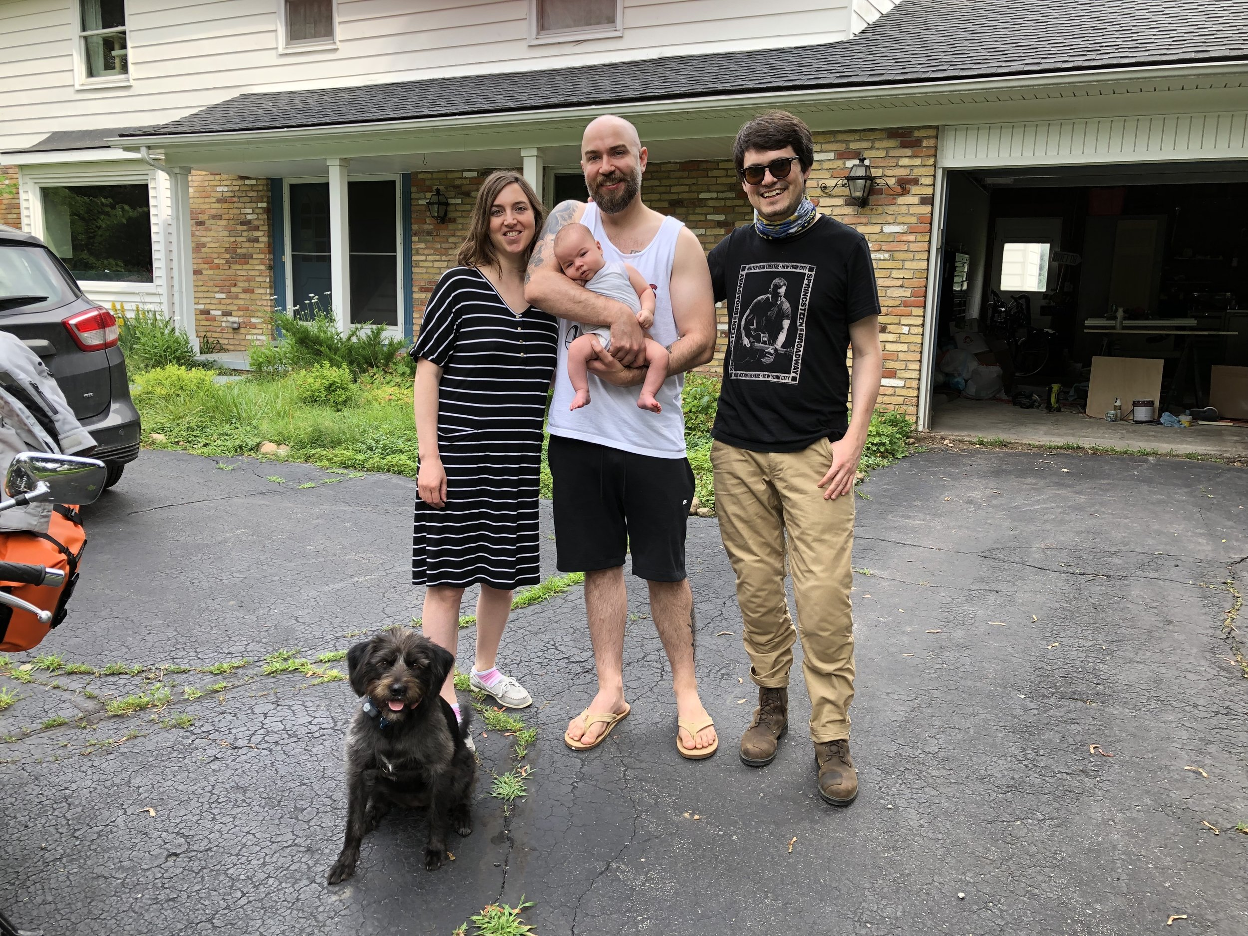 L to R: Edie the family dog, Zac's wife Suzy, their son Alfred, Zac, me.