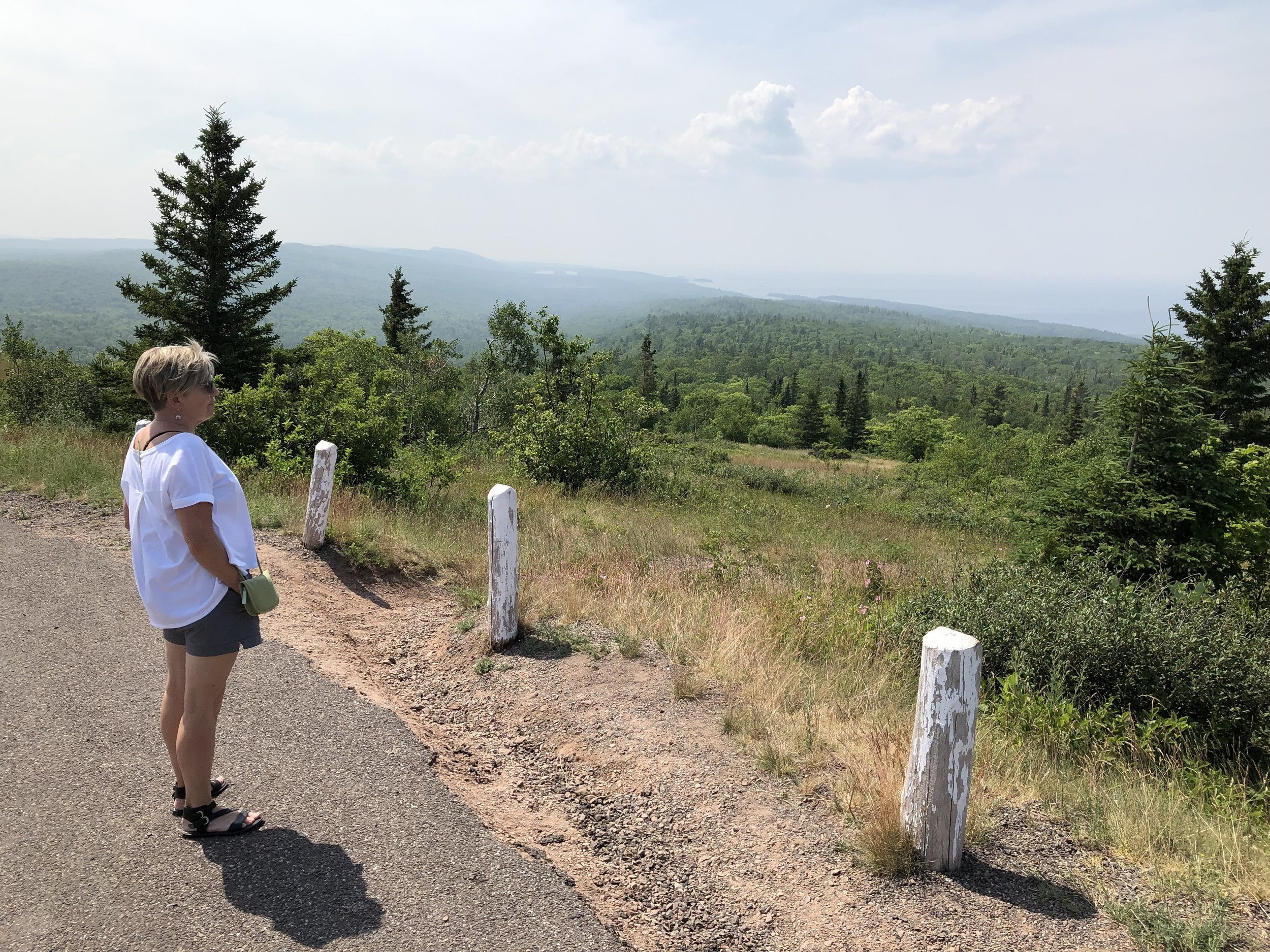 Sandy, looking northwest from Brockway Mountain. She made sure I knew the haziness was from Canadian wildfires. The views are usually crystal clear.