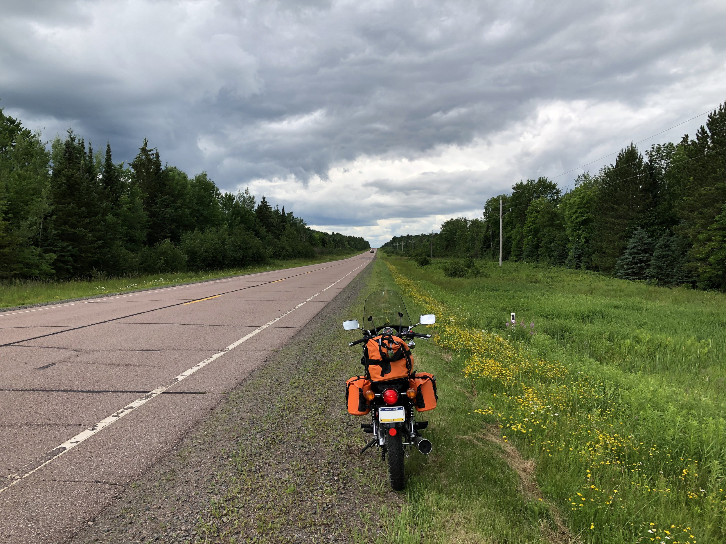 Riding through the scenic Chequamegon-Nicolet National Forest in Wisconsin.