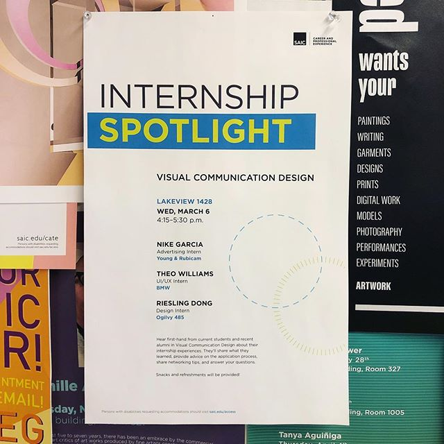 Huge thank you to @nike.garcia @thophles & @riesling_dong for sharing their internship experiences yesterday at the @saiccareers VCD Internship Spotlight Panel 💯 SAIC students: stay tuned for the next Internship Spotlights for Photography, Fashion, FVNMA, and Printmedia during CAPX Week (March 25th-28th)