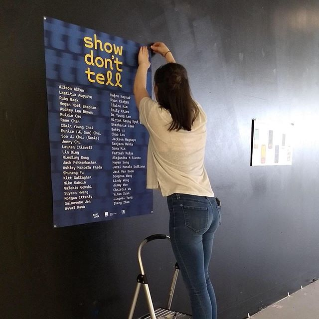 """Behind-the-scenes of the 2019 VCD Design Show, """"Show Don't Tell"""" 📌 Stop by the 2nd floor of Block 37 tonight from 5-8pm to see our work. Free & open to the public!"""