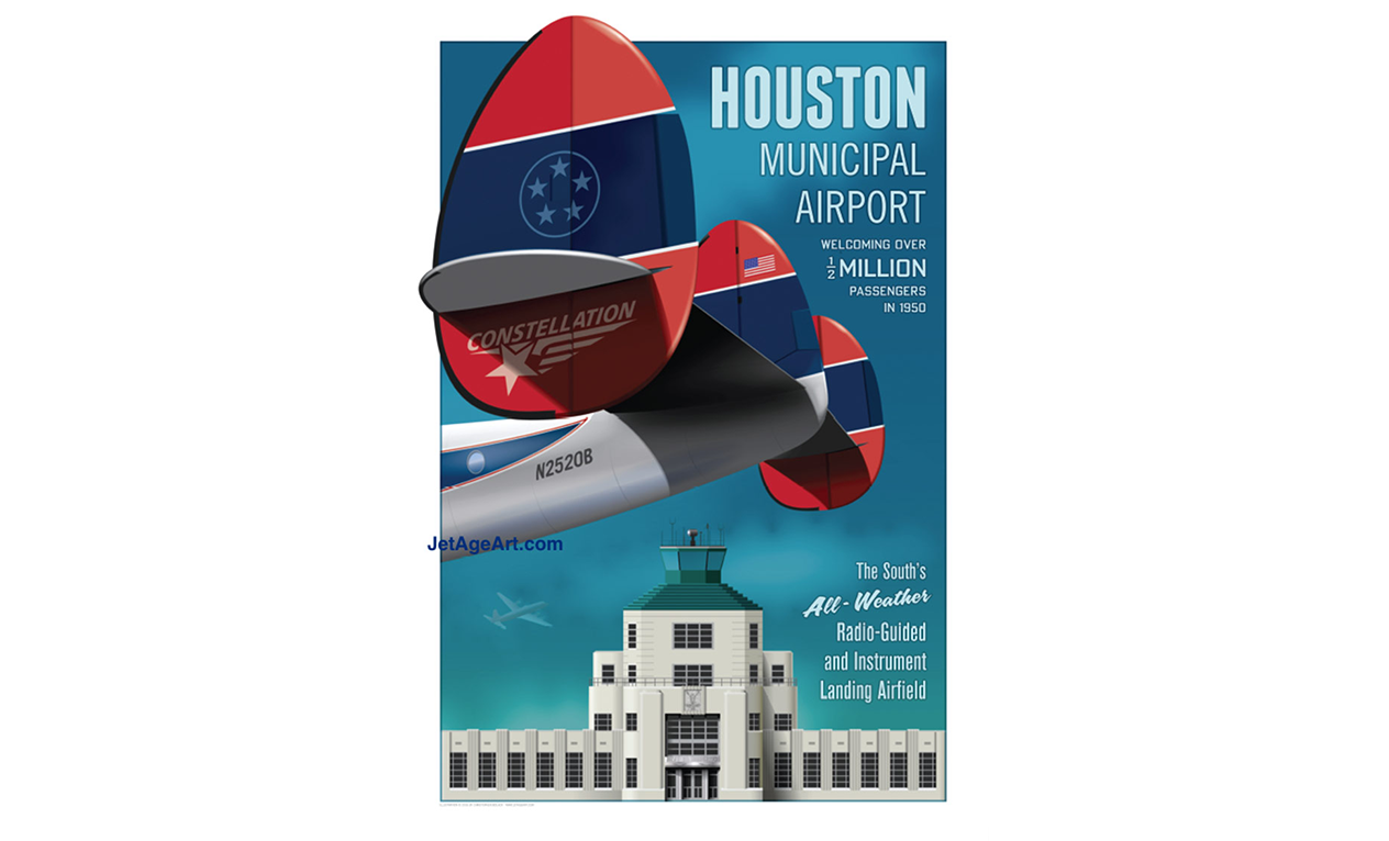 "HOU HOUSTON AIRPORT TRAVEL AIRPORT POSTER 14/"" x 20/"" by Chris Bidlack//Jet Age Art"