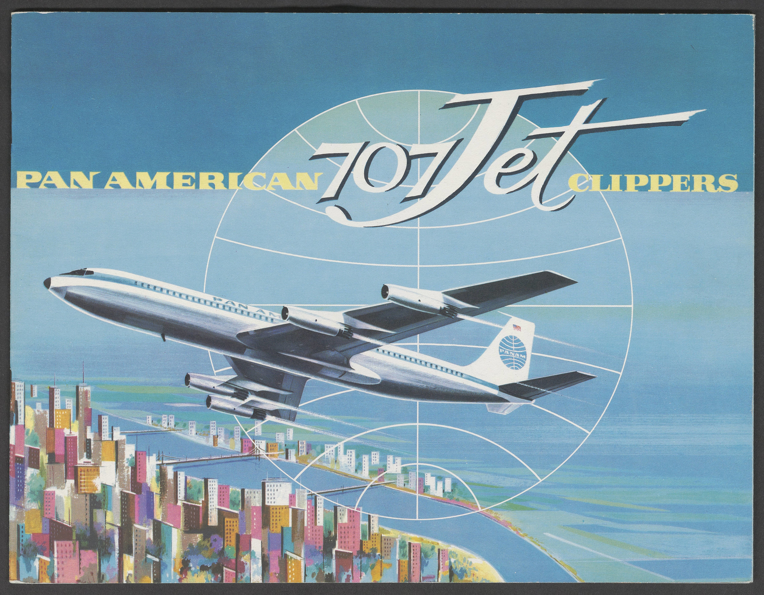 Pan American 707 Jet Clippers brochure cover.