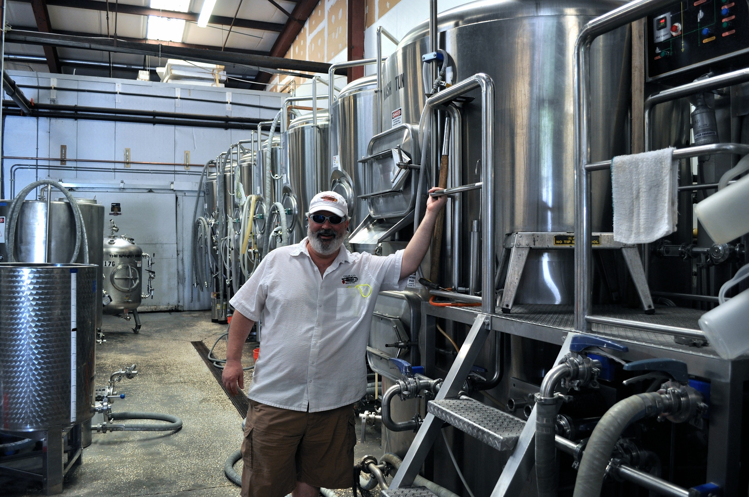 The original Cigar City Brewing brewhouse and our friend Mr. Bob Lorber