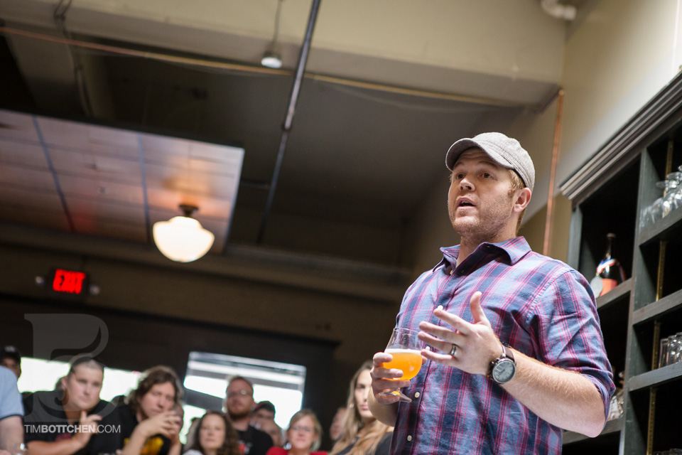 Cory King, Founder and Brewer at Side Project Brewing.  Photo courtesy of Tim Bottchen and Side Project Brewing.